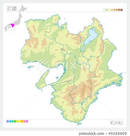 킨키의지도 · Kinki (등고선 · 색) 49268809