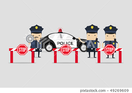 The police are closing the road. 49269609