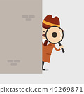 Detective holding a magnifying glass behind wall. 49269871
