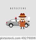 Funny detective character with his car. 49270006