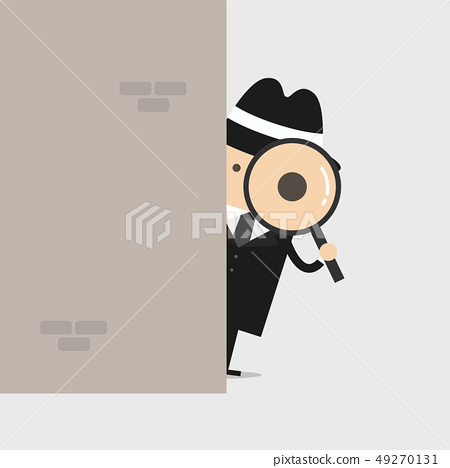 Detective holding a magnifying glass behind wall. 49270131