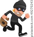 Thief carrying bag of money with a dollar sign 49270243