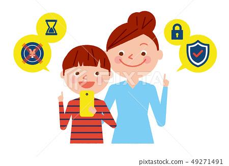 智能手機父母和兒童安全例證向量 49271491