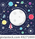 Set of huge space infographic universe illustration. Outer space rocket flying up into the solar 49271660