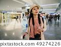 elegant female backpacker looking up on road sign 49274226