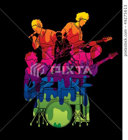Musician playing music together, Music band vector 49275613