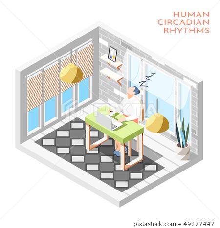 Human Circadian Rhythms Isometric Composition 49277447