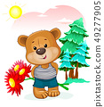 Bear with a bouquet of flowers in nature 49277905