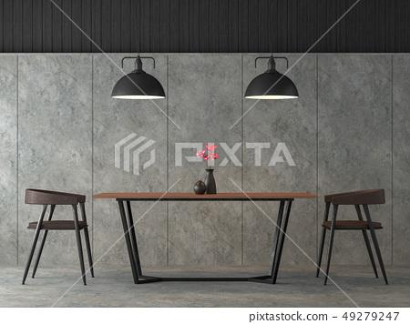 Modern loft dining room 3d render 49279247