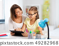 mother and daughter with tablet pc doing homework 49282968