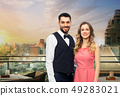happy couple over restaurant lounge in singapore 49283021