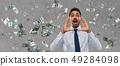 indian businessman shouting over money rain 49284098