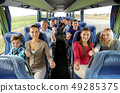 group of happy passengers travelling by bus 49285375