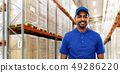 indian delivery man or warehouse worker in uniform 49286220