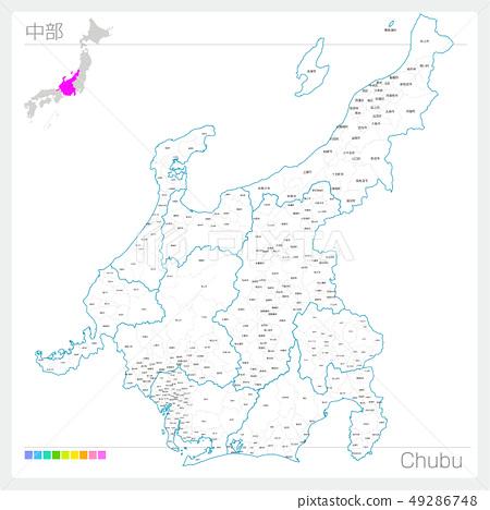 Map of Chubu Chubu (white map style) 49286748