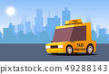 Yellow Taxi Car. on City Landscape Background. IsoFlat Styled Vector Illustration. 49288143