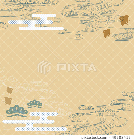 Hand drawn wave with Japanese template vector.  49288415