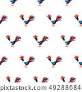 Cute roosters seamless vector pattern on white background. 49288684