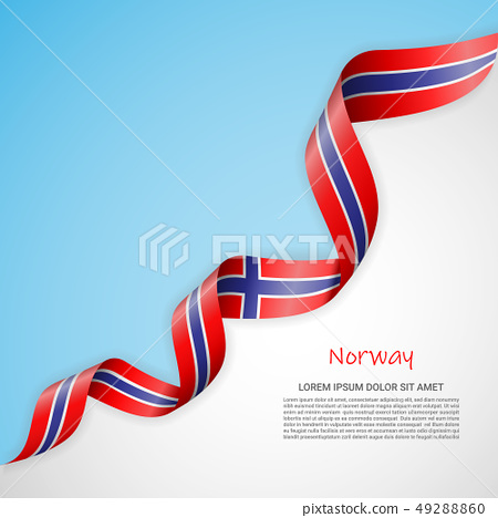 Vector banner in white and blue colors and waving ribbon with flag of Norway. Template for poster 49288860