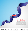 Vector banner in white and blue colors and waving ribbon with flag of Newzealand. Template for 49288864