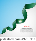 Vector banner in white and blue colors and waving ribbon with flag of Macau. Template for poster 49288911