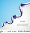Vector banner in white and blue colors and waving ribbon with flag of Finland. Template for poster 49288986
