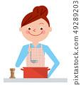 烹調罐例證傳染媒介的婦女 49289203
