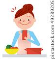 婦女智能手機食譜查尋例證向量 49289205