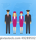 Group of flat cute cartoon people of aircraft characters in air uniform. Set of people aviation 49289502