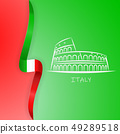 Coliseum and the Italian flag background. Vector illustration 49289518