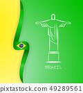 Flag of Brazil, Federative Republic of Brazil. Statue of Christ the Redeemer, Rio de Janeiro. Bright 49289561