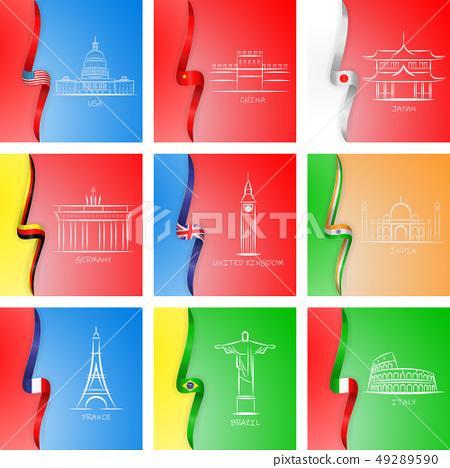 Flags and sights of different countries icons in set collection for design. Famous building vector 49289590