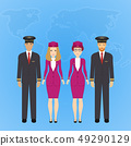 Group of flat cute cartoon people of aircraft characters in air uniform. Set of people aviation 49290129