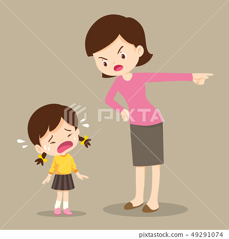 mother scolding sad children girl 49291074