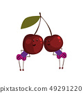 Two funny cherries cartoon characters, funny humanized berries vector Illustration on a white 49291220