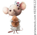 cute little mouse girl with almond 49296122