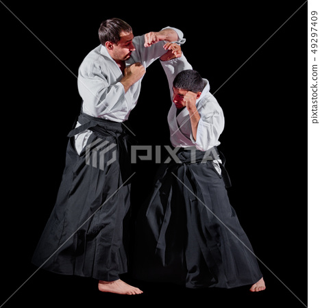 Two martial arts fighters isolated 49297409