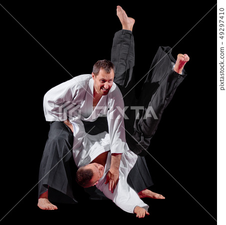 Two martial arts fighters isolated 49297410