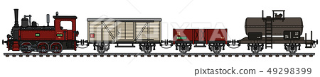 The vintage freight small steam train 49298399