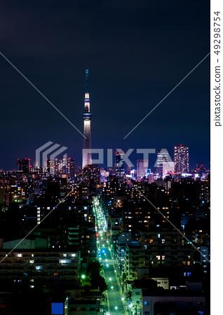 鳥瞰圖東京,摩天大樓的夜景,海角[東京天空樹] 49298754