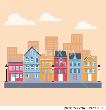 Town scenery cartoons 49299134
