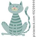 happy tabby cat cartoon animal character 49299444