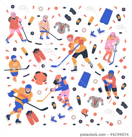 Concept illustration with young ice hockey players 49299854