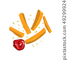 French fries with spices and ketchup vector Illustration on a white background 49299924