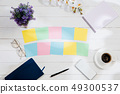 Message at colorful note papers on a desk background. 49300537