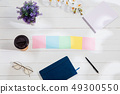 Message at colorful note papers on a desk background. 49300550
