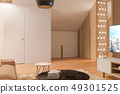 3d illustration interior design ilving room of the attic floor of a private cottage 49301525