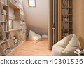 3d illustration interior design ilving room of the attic floor of a private cottage 49301526