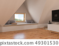 3d illustration interior design ilving room of the attic floor of a private cottage 49301530