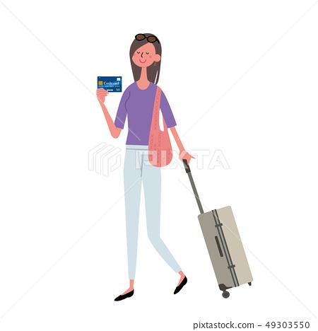 신용 카드를 가진 여성 49303550